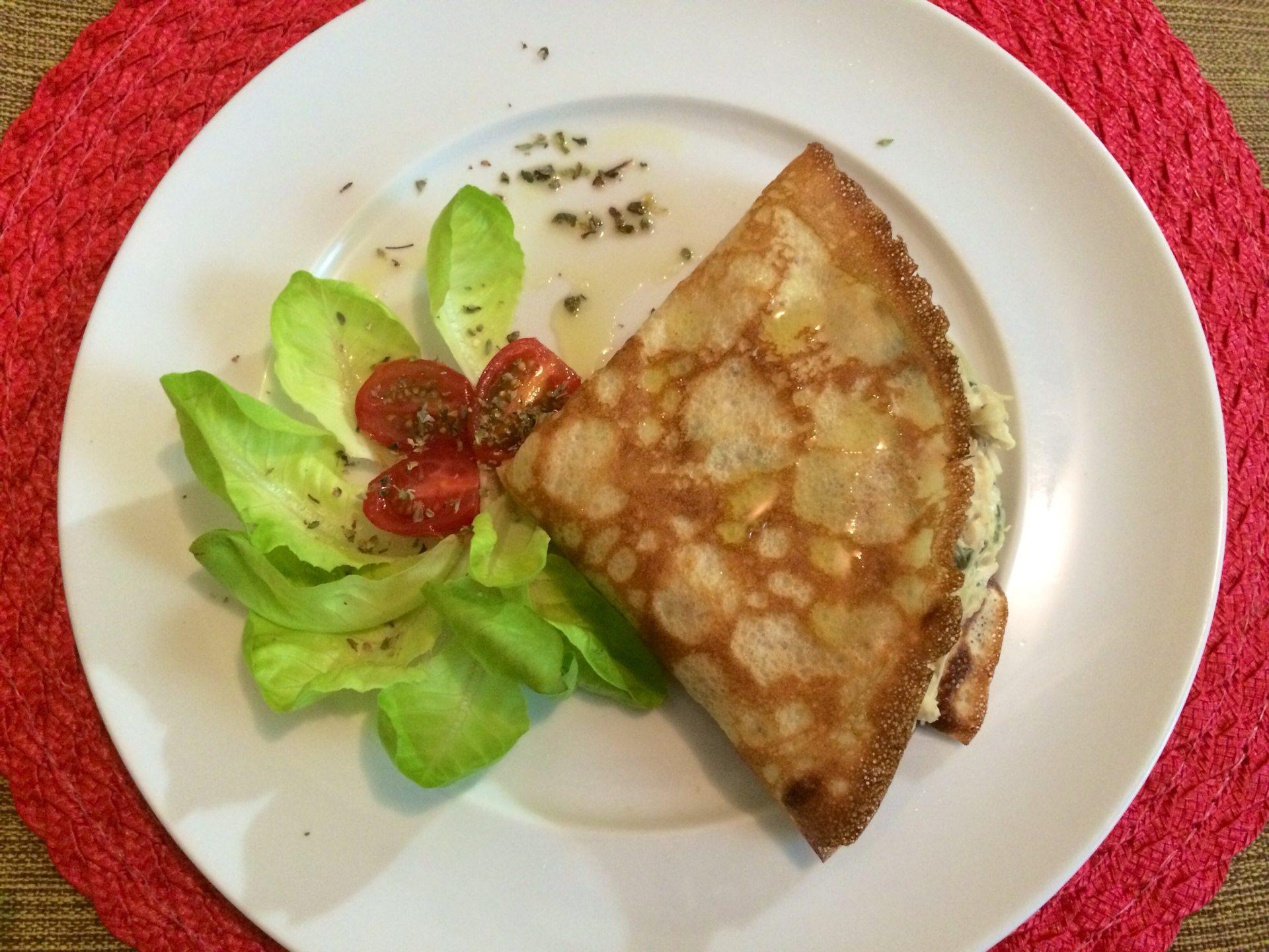 Receita rápida e fácil de Crepe de Quinoa com Frango ao Creme de Espinafre